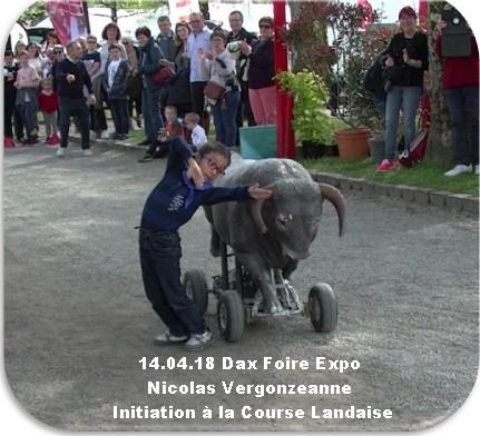 14 04 18 dax foire expo nicolas vergonzeanne initiation a la course landaise